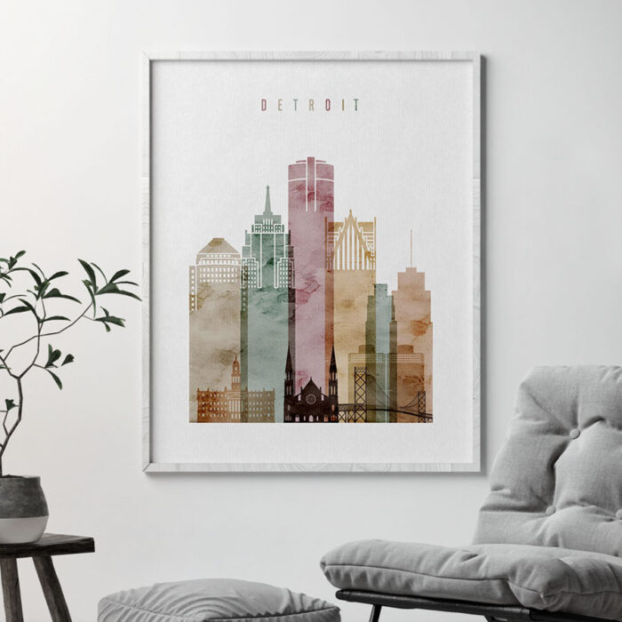 Detroit skyline print watercolor 1 second