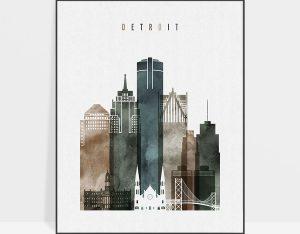 Detroit poster watercolor 2