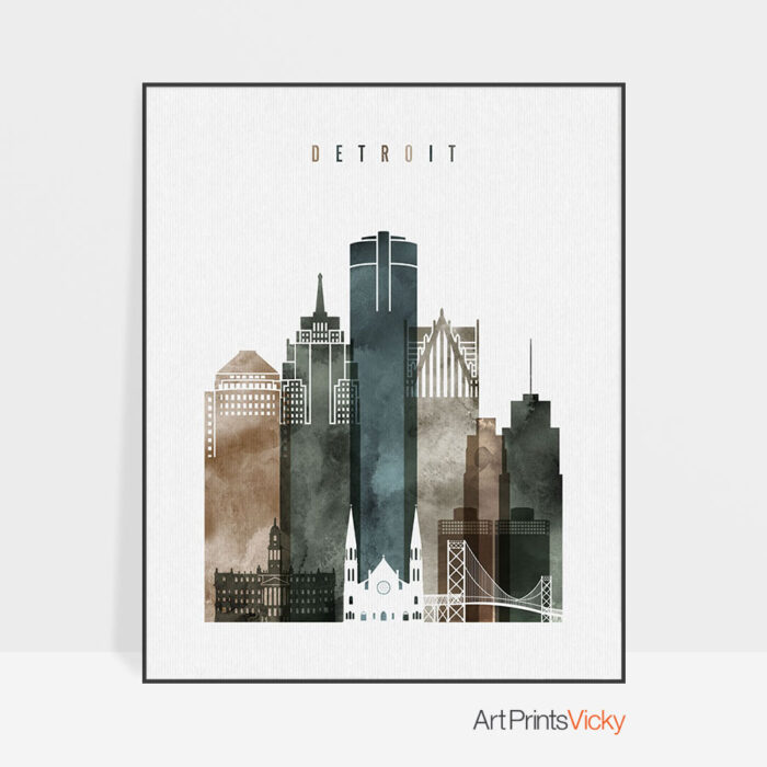 Detroit poster watercolor 2