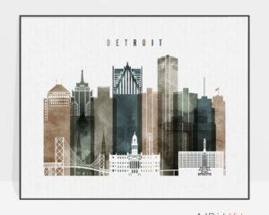 Detroit skyline art watercolor 2 landscape