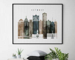 Detroit skyline art watercolor 2 landscape second