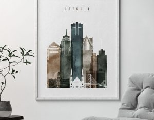 Detroit poster watercolor 2 second