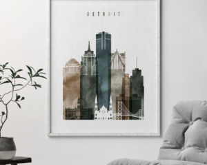 Detroit poster watercolor 2 second