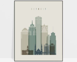 Detroit print skyline earth tones 1