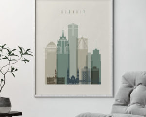 Detroit print skyline earth tones 1 second