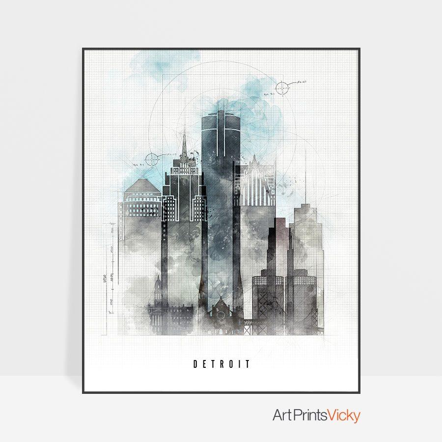 Detroit Skyline Art Print Urban
