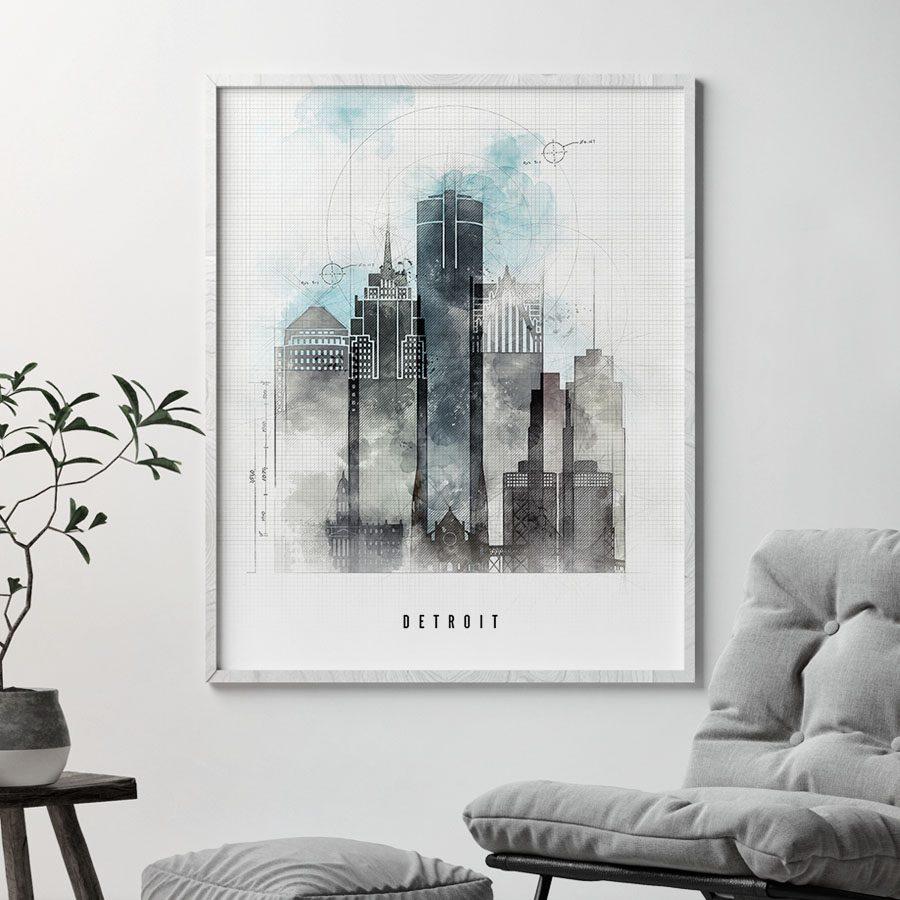 Detroit skyline art print urban second