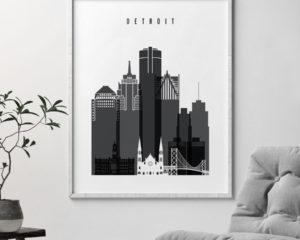 Detroit skyline black and white art second