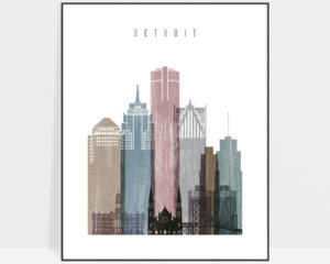 Detroit skyline poster distressed 1