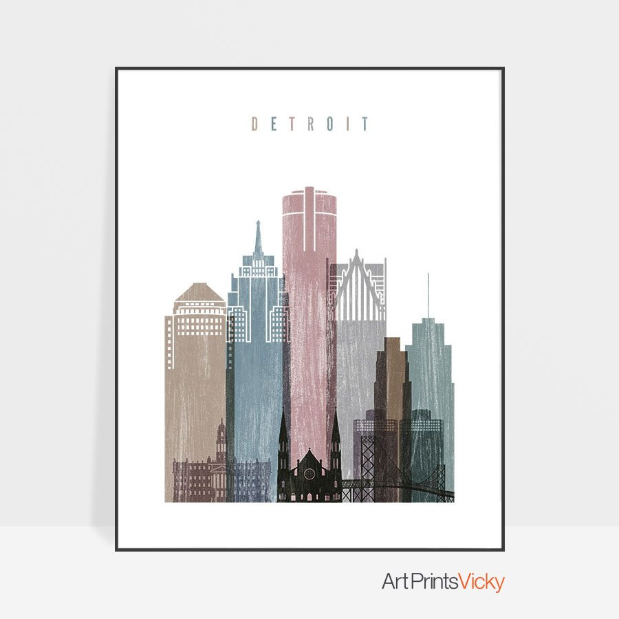 Detroit skyline poster distressed 1