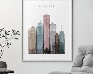 Detroit skyline poster distressed 1 second