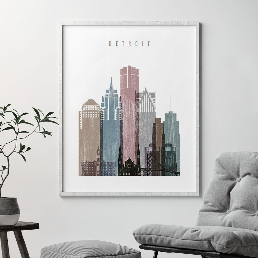 Detroit skyline poster distressed 1 second