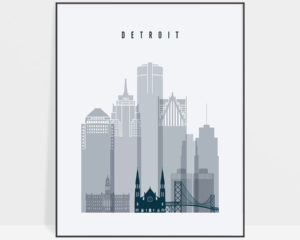 Detroit skyline poster grey blue