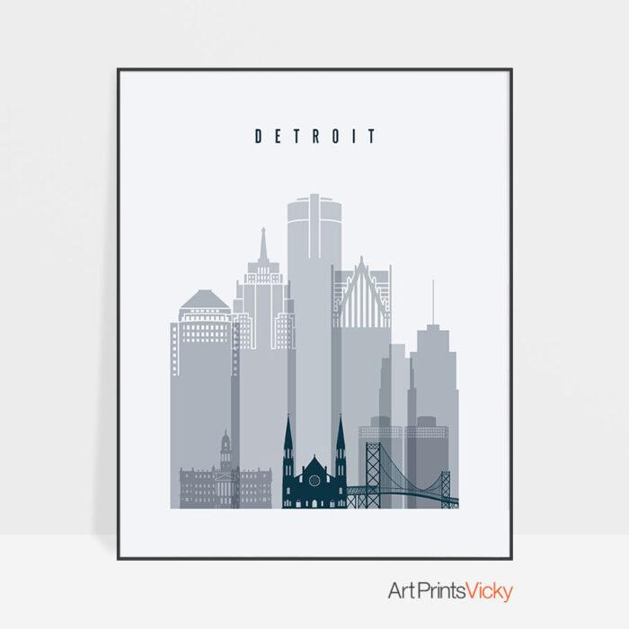 Detroit skyline poster grey blue