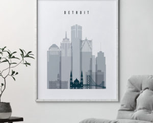 Detroit skyline poster grey blue second