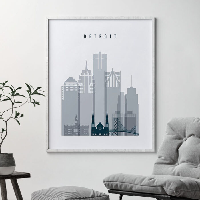 Detroit skyline poster grey blue second