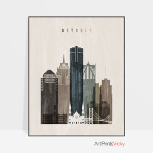 Detroit skyline print distressed 2
