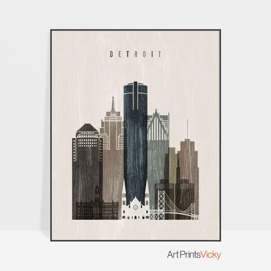 Detroit skyline print distressed 2