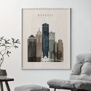 Detroit skyline print distressed 2 second