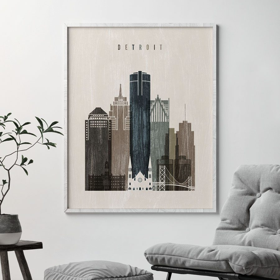 Detroit skyline print distressed 2 second