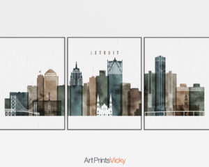 Detroit watercolor 2 skyline set of 3 prints