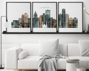 Detroit watercolor 2 skyline set of 3 prints second