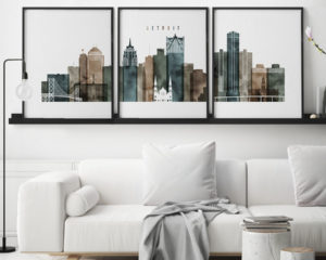 Detroit watercolor 2 skyline set of 3 prints second