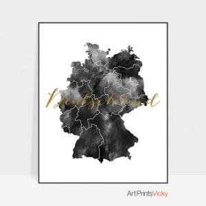 Deutschland map black and white poster