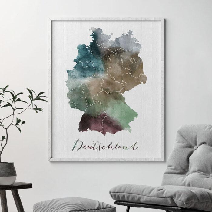 Deutschland map print second