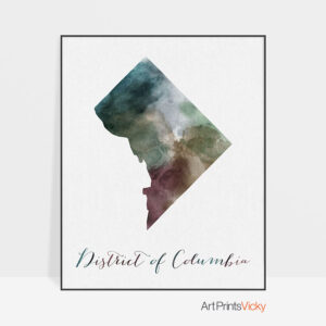 District of Columbia map print