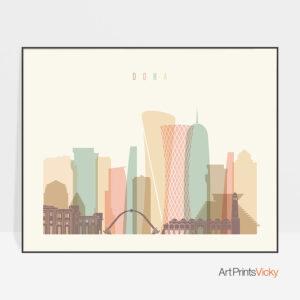 Doha art print skyline pastel cream landscape