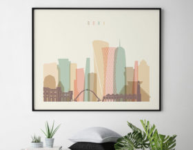 Doha art print skyline pastel cream landscape second