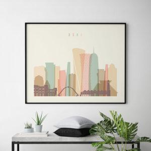 Doha art print skyline pastel cream landscape second