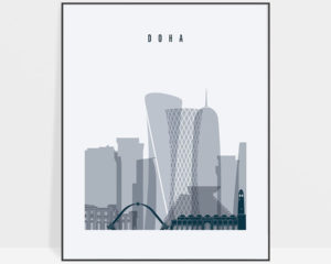 Doha skyline poster grey blue