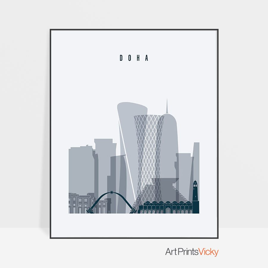 Doha skyline poster grey blue