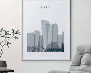 Doha skyline poster grey blue second