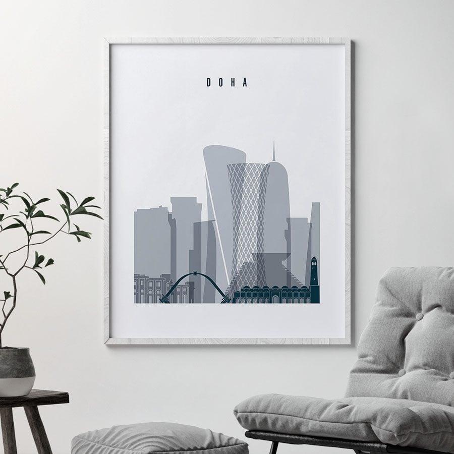 Doha skyline poster grey blue second