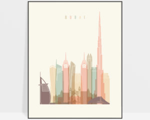 Dubai skyline print pastel cream