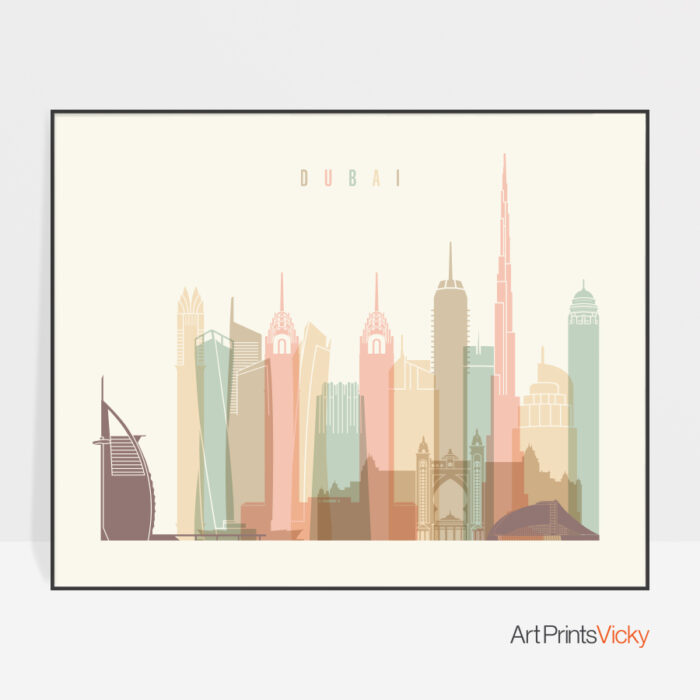 Dubai skyline print pastel cream landscape