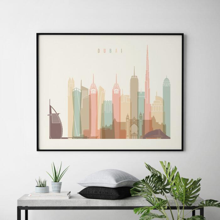 Dubai skyline print pastel cream landscape second