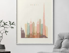 Dubai print skyline pastel cream second