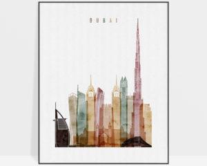 Dubai poster watercolor 1