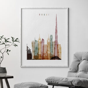 Dubai poster watercolor 1 second