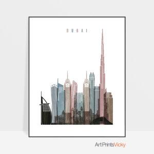 Dubai skyline poster distressed 1