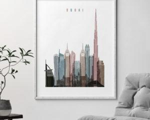 Dubai skyline poster distressed 1 second