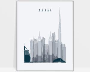 Dubai skyline poster grey blue