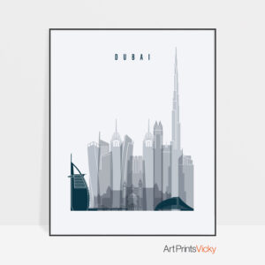 Dubai skyline poster grey blue