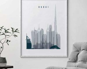 Dubai skyline poster grey blue second