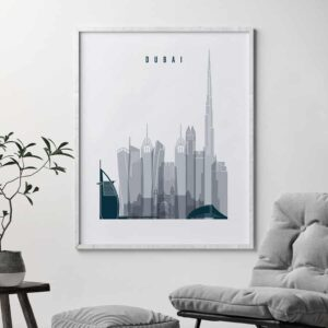 Dubai skyline poster grey blue second