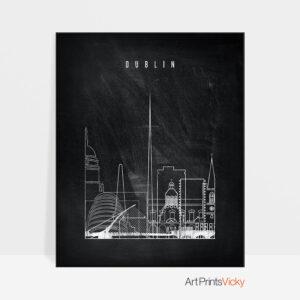 Dublin chalkboard black white skyline print
